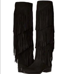Sam Edelman black fringe tall pendra suede boot